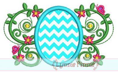Easter Egg Flourish Applique 4x4 5x7 6x10 SVG