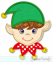 Christmas Elf Boy Applique 4x4 5x7 6x10 7x11
