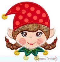 Christmas Elf Girl Applique 4x4 5x7 6x10 7x11
