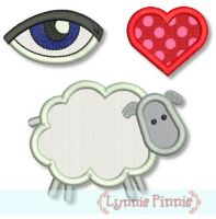 Eye Love Ewe (I Love You) Applique 4x4 5x7 6x10