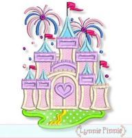 Fancy Castle with Fireworks Applique 5x7 6x10 7x11