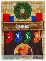 Holiday Fireplace Applique 4x4 5x7 6x10