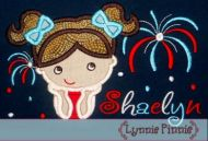 Watching Fireworks Applique - Girl 4x4 5x7 6x10