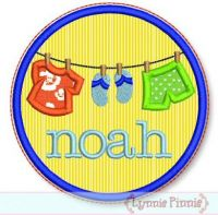 Circle Summer Clothesline Applique 4x4 5x7 6x10 7x11