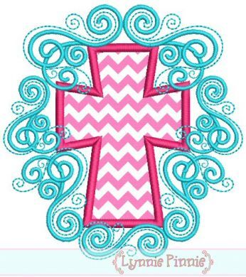 Flourish Cross Applique 4x4 5x7 6x10 7x11 SVG