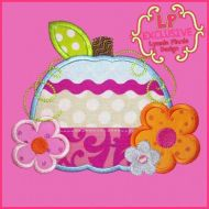Bright Flowers Pumpkin Applique 4x4 5x7 6x10 7x11 SVG
