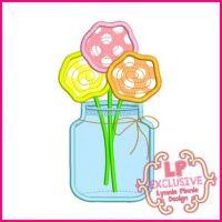 Flowers in Jar Applique 4x4 5x7 6x10