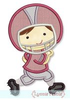 Little Football Player Applique 2 4x4 5x7 6x10
