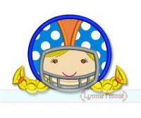 Football Helmet Girl Applique 4x4 5x7 6x10 SVG