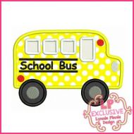 School Bus Applique With Mini & Felt Clippie 4x4 5x7 6x10 SVG