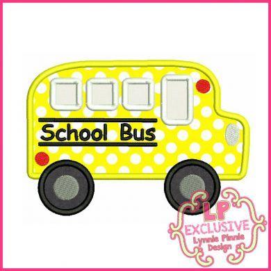 School Bus Applique With Mini & Felt Clippie 4x4 5x7 6x10 SVG