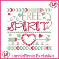 Free Spirit Tribal Arrows Word Art Applique 4x4 5x7 6x10 7x11