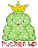 Pucker Up Frog Prince Applique 4x4 5x7 6x10