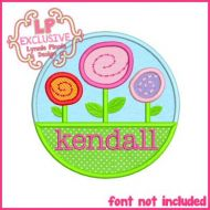 Garden Circle Applique 4x4 5x7 6x10 SVG