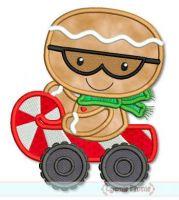 Gingerbread Man Candy Cane Car Applique 4x4 5x7 6x10 SVG