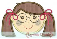 Little Faces - Girl 1 with Glasses Applique 4x4 5x7 6x10