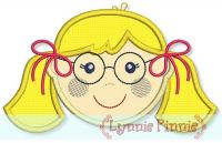 Little Faces - Girl 2 with Glasses Applique 4x4 5x7 6x10