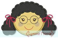 Little Faces - Girl 3 with Glasses Applique 4x4 5x7 6x10
