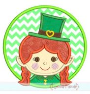 Leprechaun Girl Circle Patch Applique 4x4 5x7 6x10 7x11 SVG