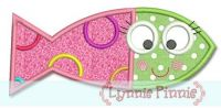 Cutie Fish Girl Applique 4x4 5x7