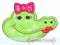 Girl Alligator Head Applique 4x4 5x7