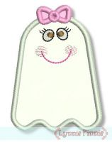 Cute Girl Ghost Applique 4x4 5x7 6x10