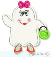Girly Ghost Applique 4x4 5x7 6x10 7x11