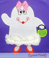 Girly 3D Ghost Applique 4x4 5x7 6x10 7x11