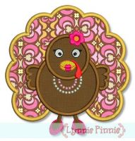 Girly Turkey Applique 4x4 5x7 6x10