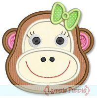 Girl Monkey Face Applique 4x4 5x7 6x10