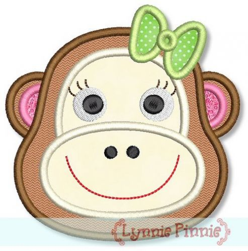 Girl Monkey Face Applique 4x4 5x7 6x10 Welcome To Lynnie Pinnie