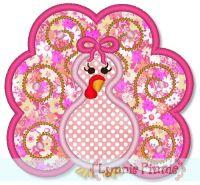 Swirly Girly Turkey Applique 4x4 5x7 6x10