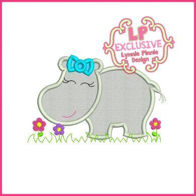 Girly Hippo Applique 4x4 5x7 6x10 SVG