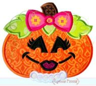 Girly Pumpkin Applique 4x4 5x7 6x10 7x11 SVG