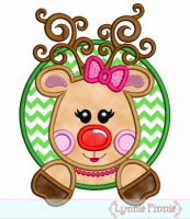 Girly Reindeer in a Circle Frame Applique 4x4 5x7 6x10