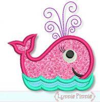 Swirly Girly Whale Applique 4x4 5x7 6x10