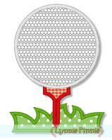Golf Ball on Tee Applique 4x4 5x7