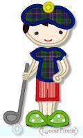 Little Boy Golfer Applique 4x4 5x7 6x10