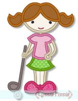 Little Golfer Girl Applique 4x4 5x7 6x10