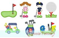 Little Golfers Applique Set 4x4 5x7 6x10