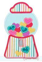 Hearts Gumball Machine Applique 4x4 5x7 SVG