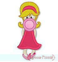 Applique Bubble Gum Girl 4x4 & 5x7
