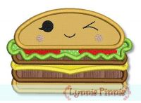 Happy Kawaii Cheeseburger Applique 4x4 5x7