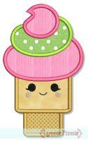 Happy Kawaii Ice Cream Cone Applique 4x4 5x7