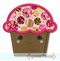 Happy Kawaii Cupcake Applique 4x4 5x7 6x10