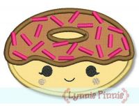 Happy Kawaii Donut Applique 4x4 5x7