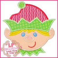 Happy Elf Boy Applique 4x4 5x7 6x10 7x11 SVG