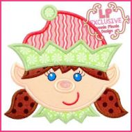 Happy Elf Girl Applique 4x4 5x7 6x10 7x11 SVG