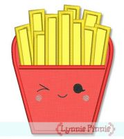 Happy Kawaii French Fries Applique 4x4 5x7