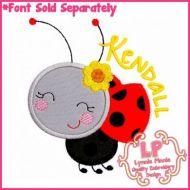 Happy Ladybug Applique 4x4 5x7 6x10 7x11 SVG